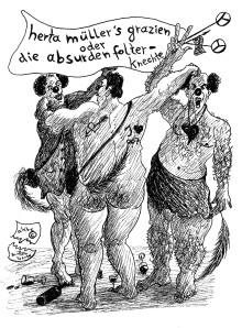 """Michael Blümel: Karikatur  zum Leben und Werk Herta Müllers nach den Texten aus """"Die Zeit der Chamäleons"""" von Carl Gibson"""