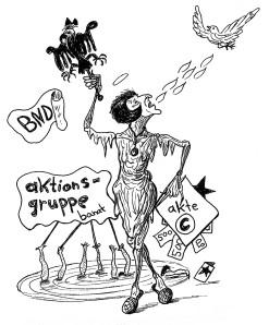 Michael Blümel: Illustration zu Carl Gibson, Die Zeit der Chamäleons, 15
