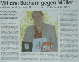 Mit drei Büchern gegen Müller, Pressebericht, Tauber-Zeitung , Bad Mergentheim, 2014